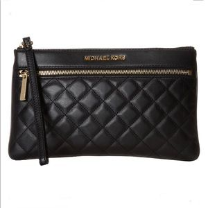 Michael Kors Large Quilted Leather Wristlet Clutch